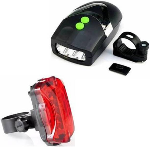 Afpin Combo of 3 LED Cycle Light & Loud Horn Bell and 5 LED Bicycle Tail Light LED Rear Break Light
