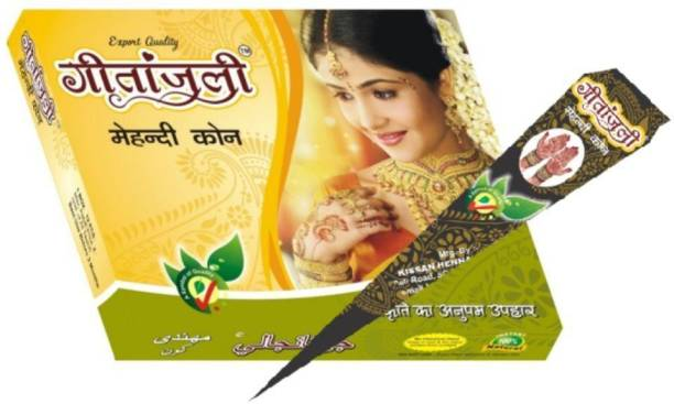 Geetanjali Mehandi Cone Pure Leaves of Natural Henna for Hand Design - Color Paste Cone- Pack of 2 , 24 pcs, 700 gm Natural Mehendi