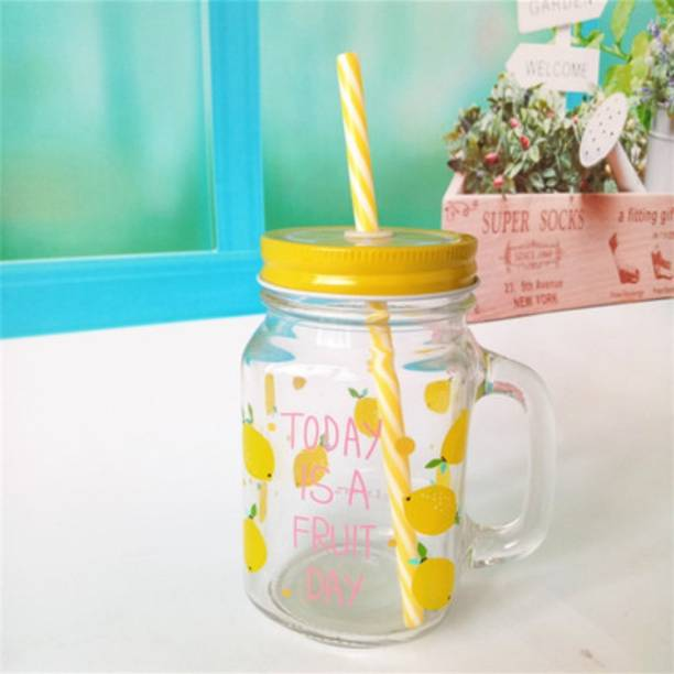 Satyam Kraft TODAY IS A FRUIT DAY printed Yellow Fruit Jar glass mason jar Glass Mason Jar