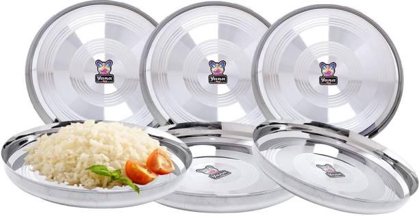 """Yana Mirror Finish Stainless Steel 22 Gauge silver touch Lazer Design bhojan thali 25cm (8.5"""" Diameter + 1.5"""" Side corner)-P6 Dinner Plate"""
