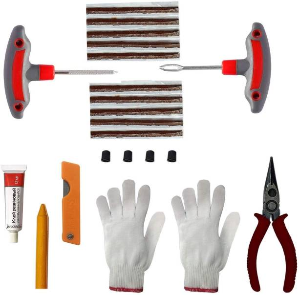 AllExtreme EX-5001 9 in 1 Universal Flat Tyre Puncher Patch Tool Box Emergency (T Handle Grips + Rubber Glue + 10 Seal Strips + Nose Pliers + Gloves + Cutter) Tubeless Tyre Puncture Repair Kit