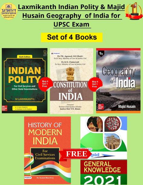 Laxmikanth Indian Polity & Majid Husain Geography Of India For UPSC & Civil Services Exam (Buy 4 Get One Free)