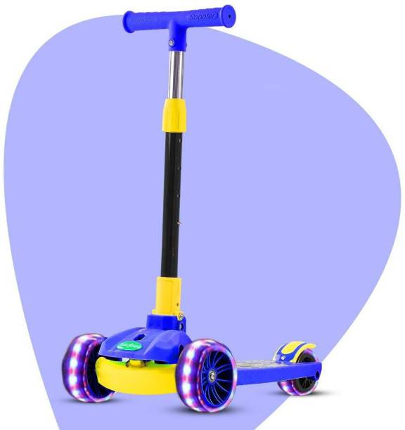 GoodLuck Baybee Skate Scooter for Kids, 3 Wheel Kids Scooter Smart Kick Scooter with Fold-able & Height Adjustable Handle, Runner Scooter with Wide LED PU Wheels & Brake for Kids 3+ Years-Blue Kids Scooter