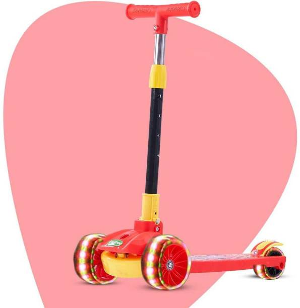 GoodLuck Baybee Skate Scooter for Kids, 3 Wheel Kids Scooter Smart Kick Scooter with Fold-able & Height Adjustable Handle, Runner Scooter with Wide LED PU Wheels & Brake for Kids 3+ Years-Red Kids Scooter