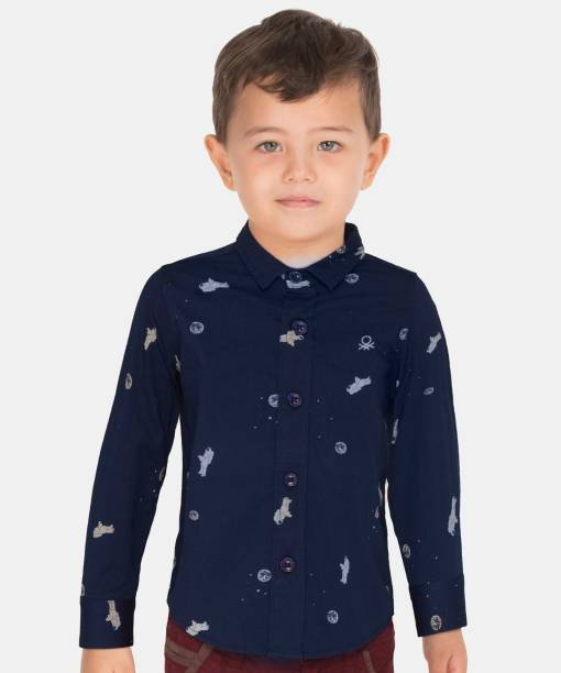 United Colors of Benetton. Baby Boys Printed Casual Blue Shirt