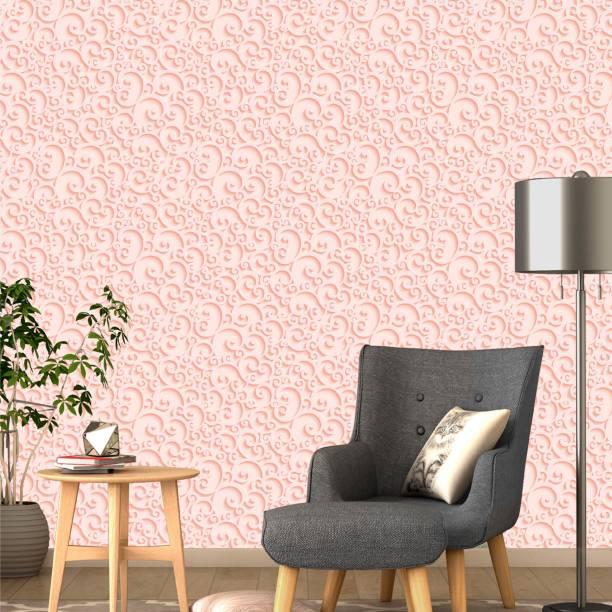 ASIAN PAINTS Large EzyCR8 P&S 3D Wallpapers Floral Curls - Pink Sticker