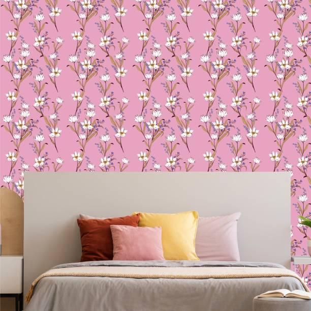 ASIAN PAINTS Large EzyCR8 P&S Floral Periwinkles - Pink Sticker