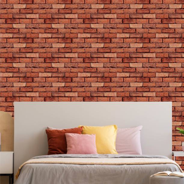 ASIAN PAINTS Large EzyCR8 P&S Textured Brick Wall - Light Brown Sticker