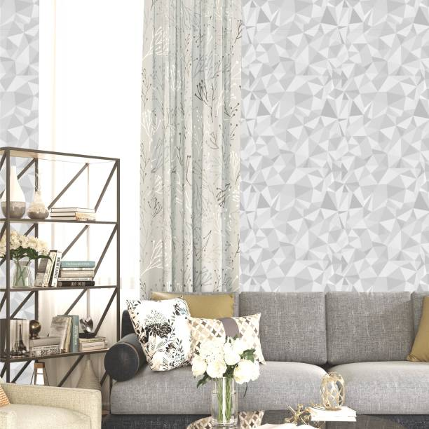 ASIAN PAINTS Large EzyCR8 P&S 3D Wallpapers Crystalline Shapes - Grey Sticker