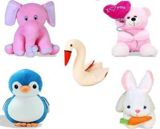 Miss & Chief Special Combo in Low Budget for Kids Baby Pink Elephant, Balloon Teddy, Swan, Blue Penguin, Rabbit with Carrot (Pack of 5)  - 25 cm