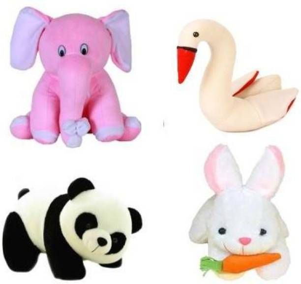 Miss & Chief Special Combo in Low Budget for Kids Baby Pink Elephant, Panda, Swan, Rabbit with Carrot (Pack of 4)  - 25 cm