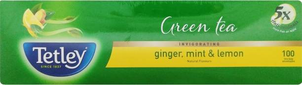 tetley Ginger, Mint and Lemon Green Tea Bags Box