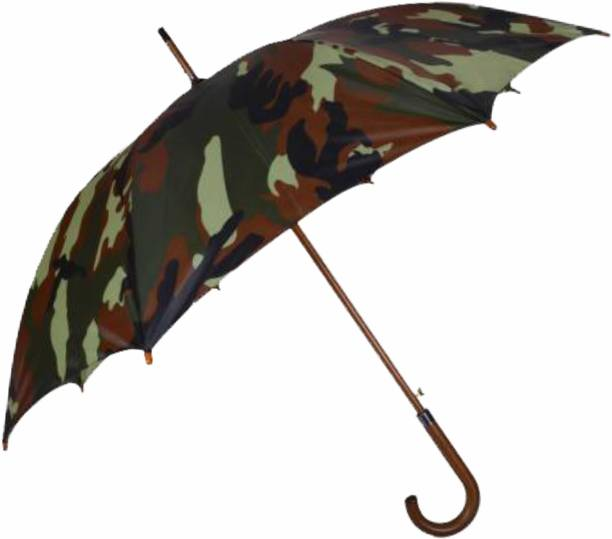 "Fendo Marshal Automatic Open 23"" (584 mm) Men/Women UV Protection Monsoon/Rainy & Sun Umbrella with Wooden Stick in Military Colour Umbrella"