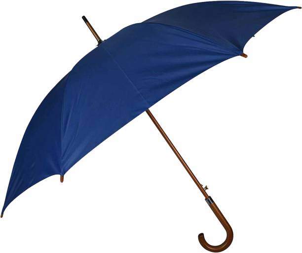 "Fendo Major Automatic Open 23"" (584 mm) Men/Women UV Protection Monsoon/Rainy & Sun Umbrella with Wooden Stick in Navy Blue Umbrella"