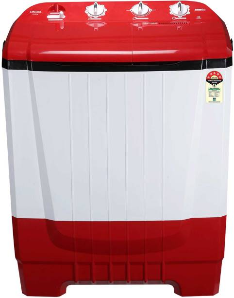 ONIDA 8 kg 5 Star Rating, Auto Scrubber Semi Automatic Top Load Red