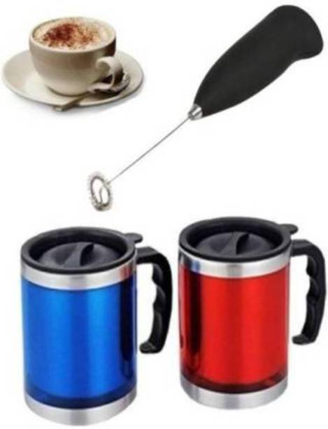Jantrex Wonderful Mini Handheld Stainless Steel Drink Coffee Milk Shaker Electric Mixer Stirrer Egg Beater (Multi Color) Stainless Steel, Plastic Spiral Whisk