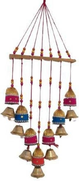 khusbhu handicrafts Handmade Multicolor Bell Wall Hanging Decoration for Main Door Living Room |Articles, Bell Design Hanging Toran |Home Office II Religious Festival Gift Ideal II Copper Windchime