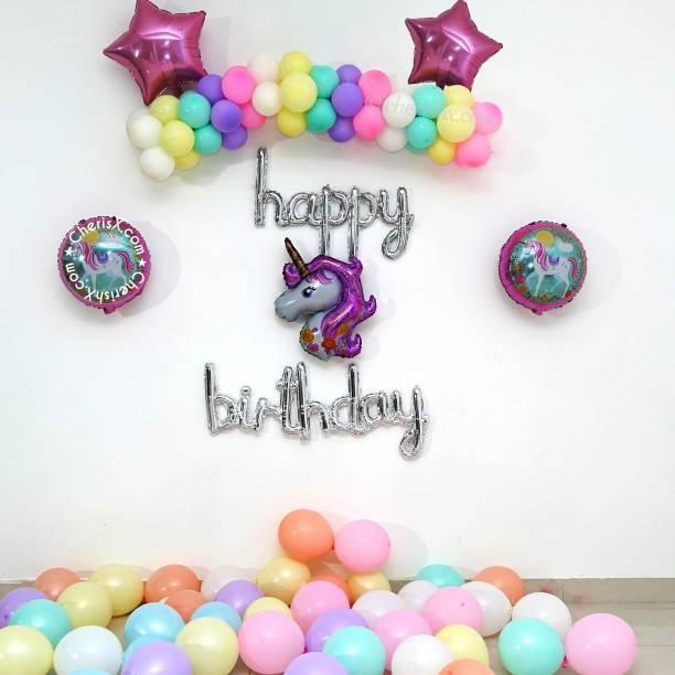 CherishX.com Printed Unicorn Theme Kids Birthday Decoration Items - Pack of 54 - Unicorn theme, Cursive Happy Birthday Foil Balloon, Pastel and Latex Balloons Balloon Bouquet