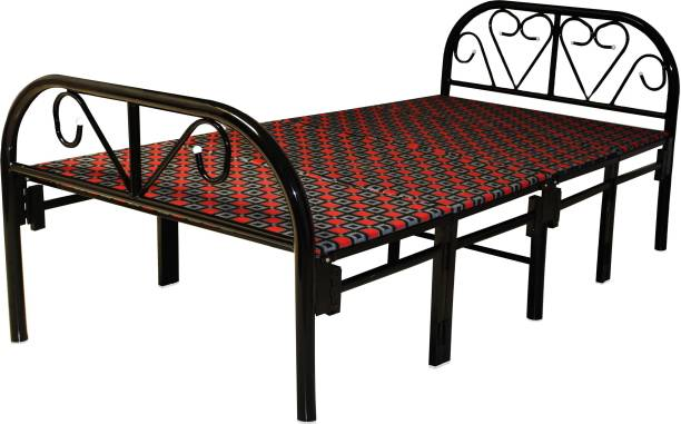 Ziaula 3 By 6 Feet Single Size Metal Bed (Heavy Duty) Foldable (Matress Color/Design May be Different) Metal Single Bed