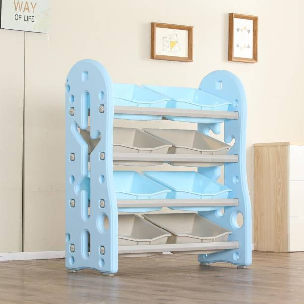 Urbancart Kids Toys and Books Organiser with 8 Storage Bins, Multi-Layer Shelf Rack. (Blue) Plastic Open Book Shelf
