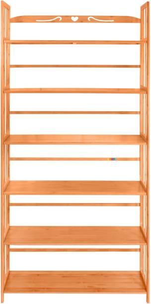 Livzing Bamboo Bookshelf Solid Wood Open Book Shelf