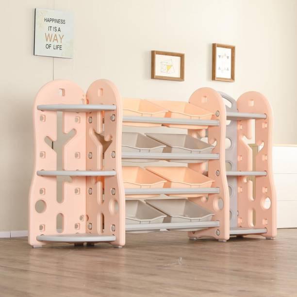 Urbancart Kids Multi Storage Toys & Books Organiser with 8 Bins & 6 Multi-Layer Shelf Rack. (Pink) Plastic Open Book Shelf