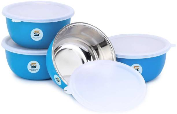 S&S Microwave Safe Plastic Coated Euro Bowls with LID (Capacity: 4*500 ml) Stainless Steel Serving Bowl