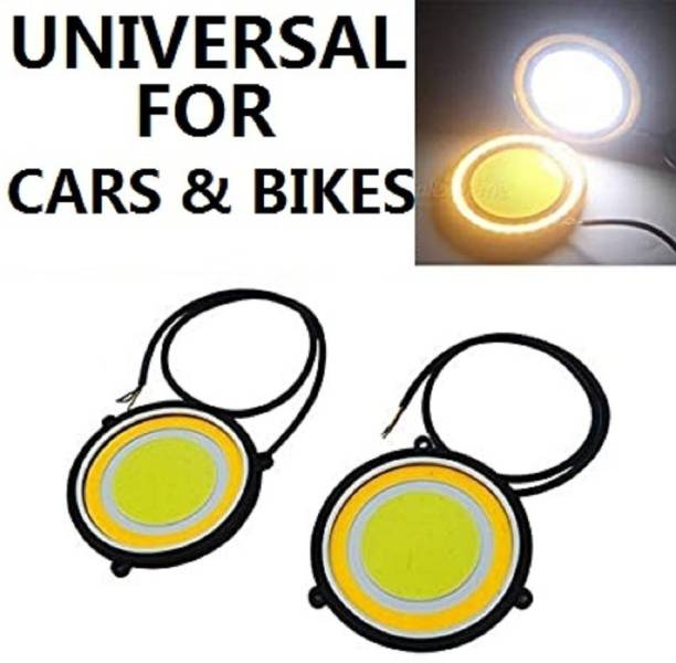 CARZEX New Waterproof Premium Quaility Car DRL Daytime Running Light with Turn Indicator Signal Flexible Round Shape White LED Lights Driving lamp COB Lights car&Bike-Styling 2pcs 12V DC For All Cars-Bikes Car Fancy Lights