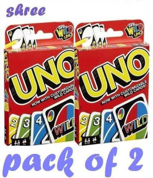 Shree UNO FAMILY CARD GAME COMPLETE PACK 108 card (PACK OF 2) (Red)