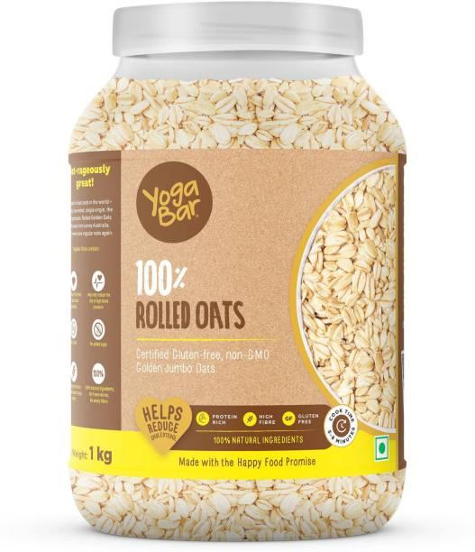 Yogabar Super Oats, 100% Rolled Oats 1kg | Premium Golden Rolled Oats, Gluten free Oats with High Fibre, 100% Whole grain, Non GMO, No Added Sugar | Ideal Breakfast for Weight Loss