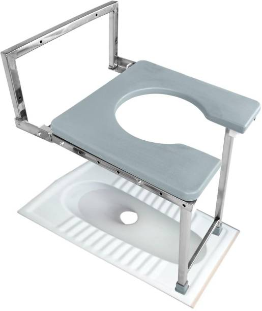 NEOSAFE Stainless Steel Heavy Duty Wall mounted Commode Stool & Shower Stool For Toilet Use Commode Shower Chair