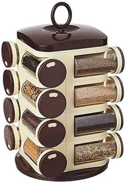 BONIRY Revolving Spice Rack Set, Spice Container, Masala Box, Spice Box, Masala Rack, Trolley Rack (Pack of 16 Jar) 1 Piece Spice Set