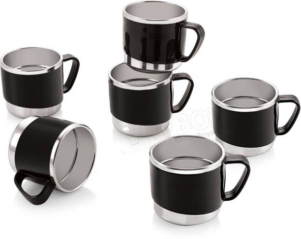 iVBOX Pack of 6 Stainless Steel Treat-06 Cool-Touch Unbreakable Stainless Steel Cup for Coffee and Tea Mug