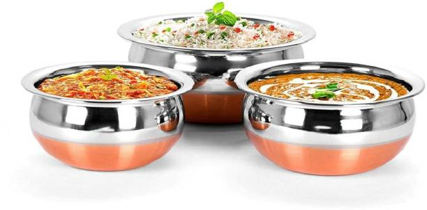 RBGIIT Pack of 3 Stainless Steel Stainless Steel Copper Bottom Cooking & Serving Biryani/Punjabi/ Pot /Handis mirror finish design Handi Copper Vegetable Bowl ,Cooking Dinner Table Serving Biryani Pot Handi Kadhai , Panikarilikka Steel Handi Perfect Copper Handi Set for Everyday Use Whether you want to cook a delicious serving of your favourite sabzi or heat leftover curries from the previous day Stainless Steel Copper Bottom Cooking Serving Pot Biryani Handi serving Handi/tableware/storage containers/bakeware/ dinner set/ kitchen set steel item for home appliances and kitchen serving cooking combo set with lid/cover/dhakkan/ storage container copper handi /URLI set fruit and salad bowl Cookware set Cookware/ Container/pot pan/patila/bhagona/Serving bowl/biryani cook & serve Set Dinner Set