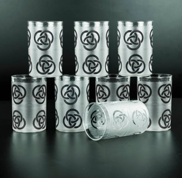 Sedulous (Pack of 8) 100% Unbreakable RING Pattern Design Plastic Glass Glass Set