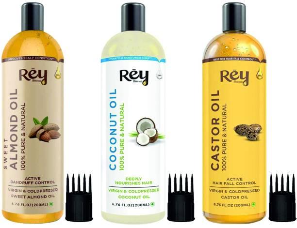 Rey Naturals Cold Pressed Castor Oil, Coconut Oil & Sweet Almond Oil - for hair & skin - 200ML + 200ML + 200ML Hair Oil