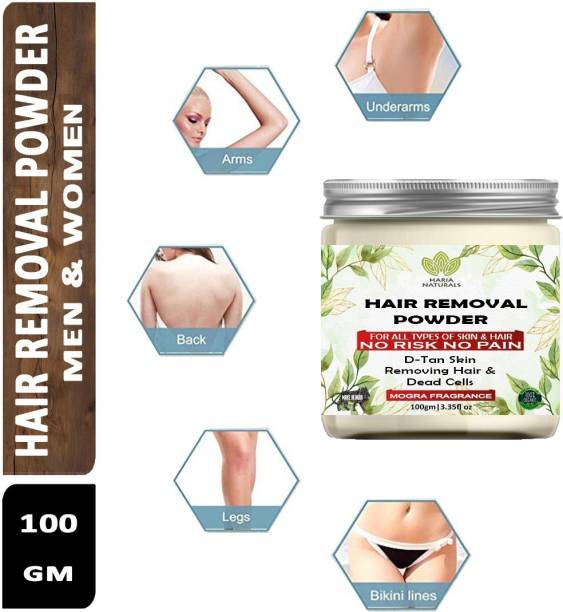 Haria Naturals Hair Removal Powder (Mogra Fragrance) For Underarms, Hand, Legs & Bikini Line Three in one Use For D-Tan Skin, Removing Hair, Remove Dead cell (For Easy Hair Removal No Risk No Pain) Men & Women 100 gms Cream