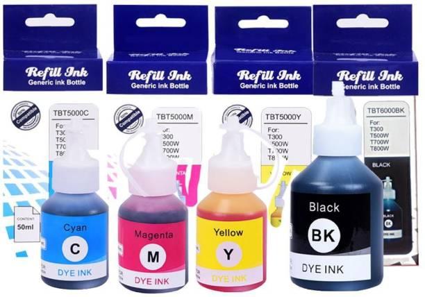R C Print Brother Ink BT6000BK / BT5000 DCP-T300, T500W, T700W, MFC-T800W Black + Tri Color Combo Pack Ink Bottle