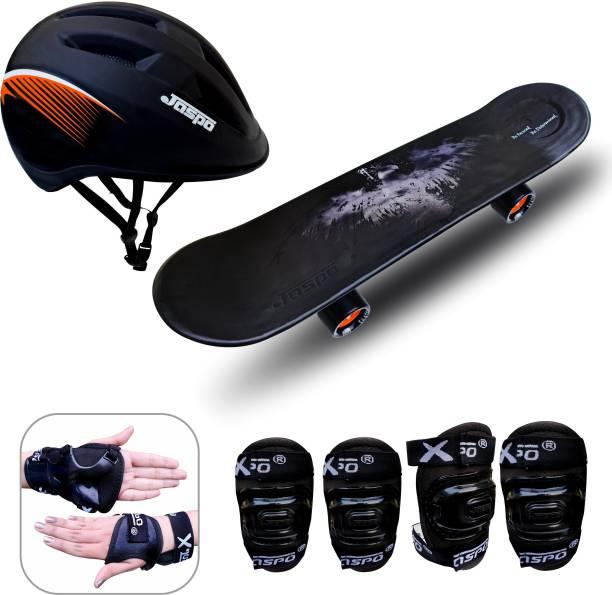 "Jaspo Power Kids Pro 26"" inches Skateboard, Helmet, Knee, Elbow, Wrist Guard for Beginners Boys & Girls (6 Years & Above) Skating Kit"