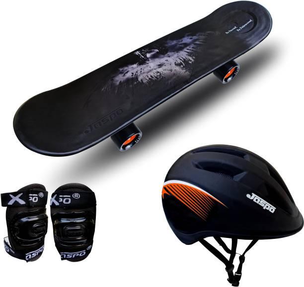 """Jaspo Power Kids Eco 26"""" inches Skateboard, Helmet & Knee Guard for Beginners Boys & Girls (6 Years & Above) Skating Kit"""