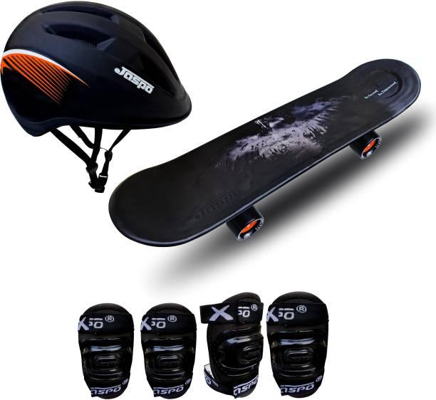 "Jaspo Power Kids Intact 26"" inches Skateboard, Helmet & Knee + Elbow Guard for Beginners Boys & Girls (6 Years & Above) Skating Kit"