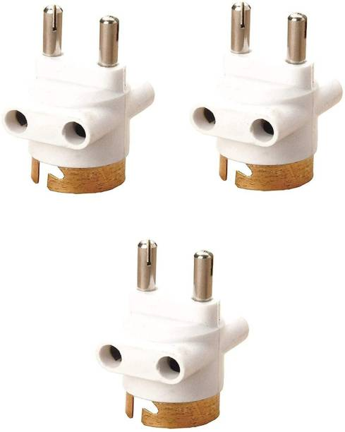 Hiru Bulb Holder - 2 Pin Parallel Adapter with Light/Bulb and Plug Socket (Pack of 3) Plastic Light Socket
