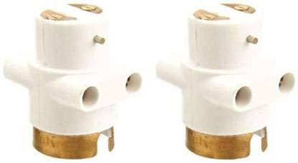 Hiru Parallel Adapter with Light/Bulb and Plug Socket (Pack of 2) Plastic Light Socket