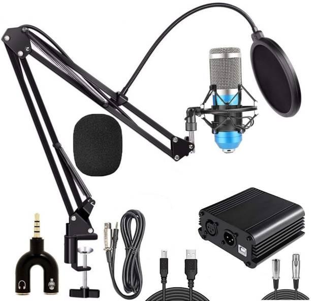 SOUVENIR BM800 Condenser Mic with Arm Stand, Shock Mount, Pop Filter, 48V Phantom Power Supply & Anti-Wind Foam, Full Condenser Microphone Recording Set for Studio Recording, Broadcasting & Podcasting Microphone