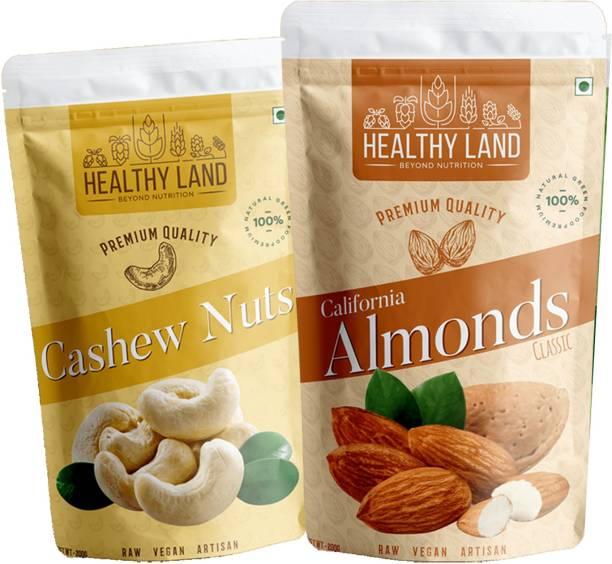 Healthy Land Cashew Nuts 200 gm and Californian Almonds 200 gm Cashews, Almonds