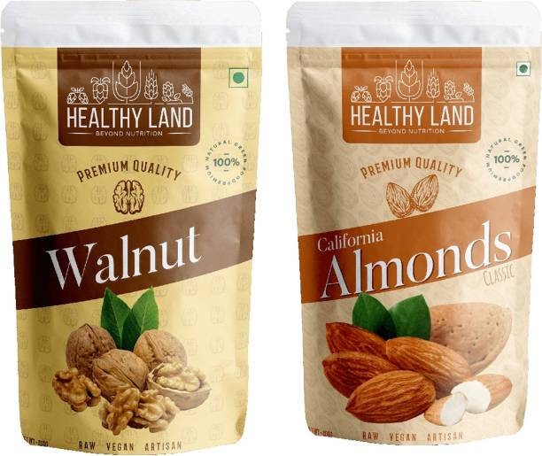 Healthy Land Californian Almonds 200 gm and Walnuts 200 gm Almonds, Walnuts