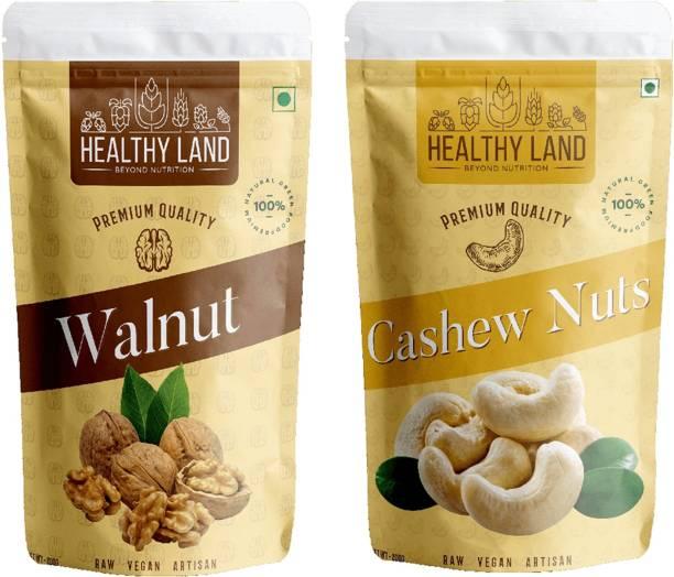 Healthy Land Walnuts 200 gm and Cashew Nuts 200 gm Walnuts, Cashews