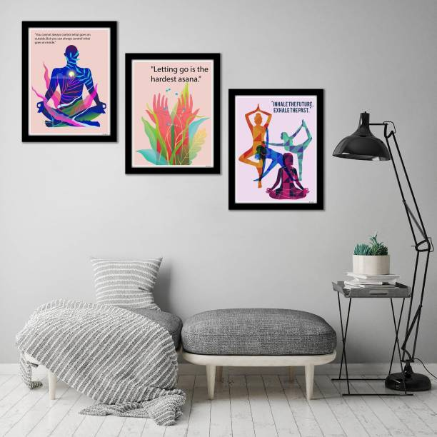 Artvibes Motivational Quotes Painting, Posters with Synthetic Wooden Frame Home, Office Decorative Gift Item(PF_5146N)(Set of 3) Digital Reprint 14 inch x 11 inch Painting