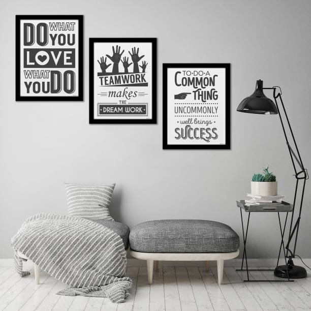 Artvibes Motivational Quotes Painting, Posters with Synthetic Wooden Frame Home, Office Decorative Gift Item(PF_5141N)(Set of 3) Digital Reprint 14 inch x 11 inch Painting