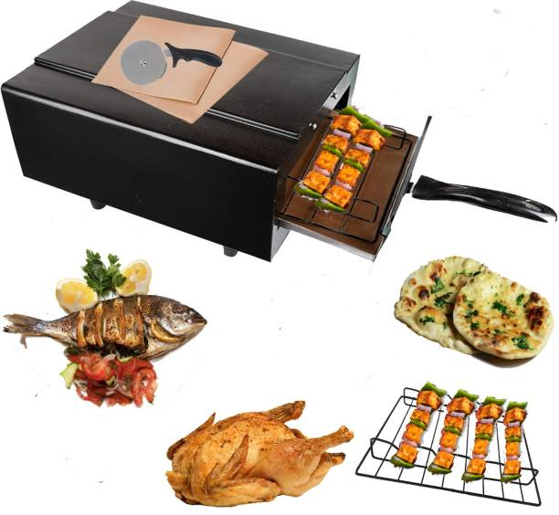 Wellberg Light Weight Mini Electric Tandoor with Pizza Cutter Glove Grill skewers Wooden (Black) Pizza Maker